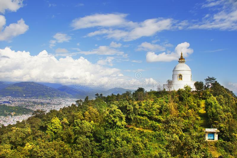 Shanti Stupa World Peace Pagoda. View of Pokhara valley, Nepal.  royalty free stock photography
