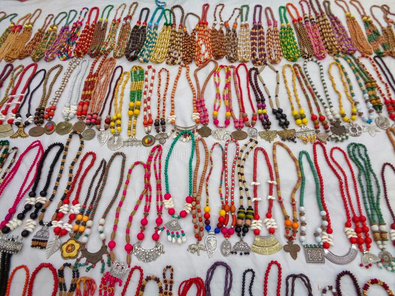 Shantiniketan, India - December 16,2018 : Selling women`s traditional ornaments or necklace. At Sonajhuri haat, Shantiniketan royalty free stock photos