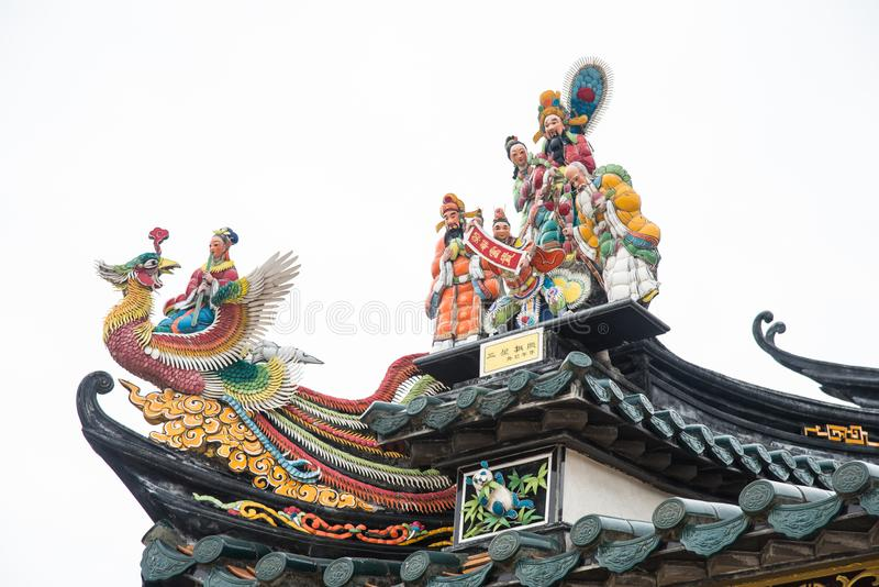 Shantou, China-October 21,2017: The Chinese building style, the. Art on the door and roof are about belief Chinese`s god royalty free stock images