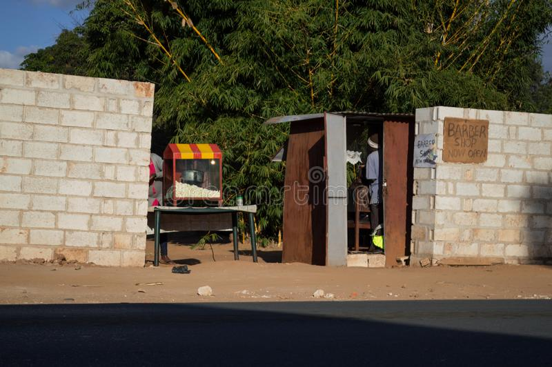 Shanty Barber Shop, Kabulonga, Bossen, Lusaka, Zambia stock foto