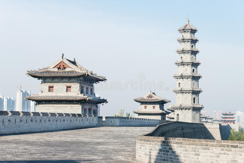 SHANXI, CHINA - Sept 23 2015: Datong City Wall. a famous histor. Ic site in Datog, Shanxi, China royalty free stock photography