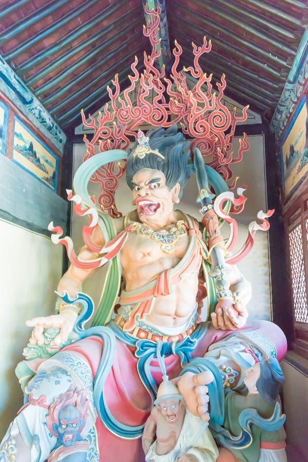 SHANXI, CHINA - Sept 25 2015: Estátuas de Budda no templo de Huayan A fotografia de stock