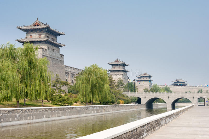 SHANXI, CHINA - Sept 21 2015: Parede da cidade de Datong um Histor famoso imagem de stock royalty free