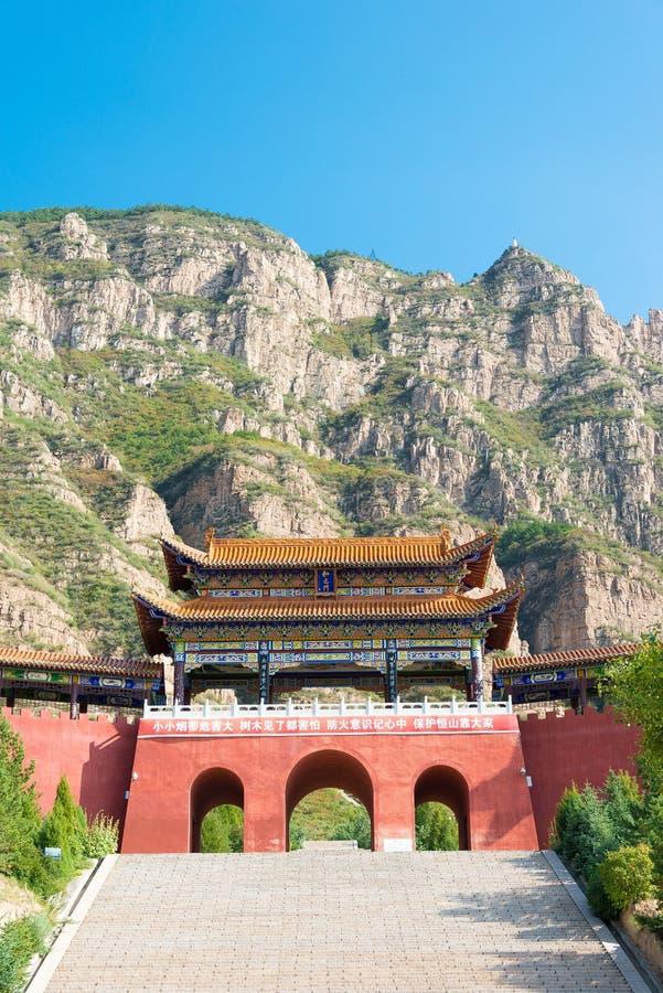 SHANXI, CHINA - Sept 19 2015: Porta da entrada em Heng Shan um famo foto de stock royalty free