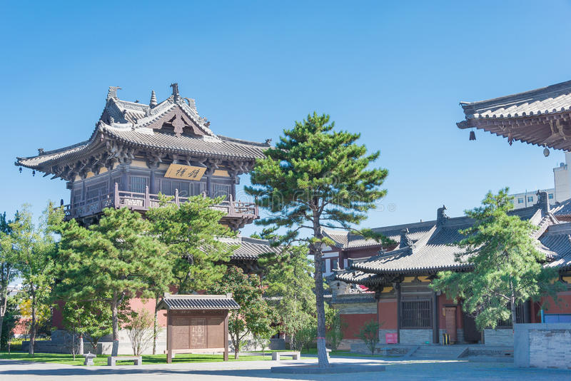 SHANXI, CHINA - Sept 25 2015: Templo de Huayan um histórico famoso foto de stock royalty free