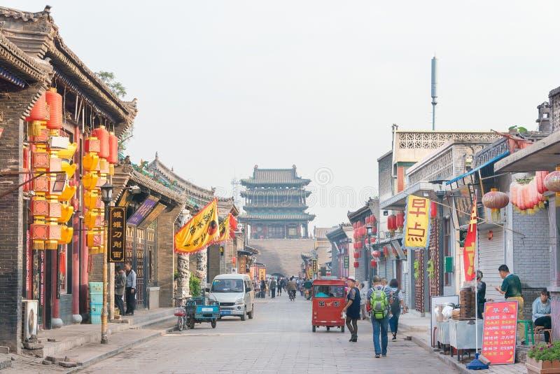 SHANXI, CHINE - septembre 03 2015 : Vue de matin de ville antique de pi photo stock