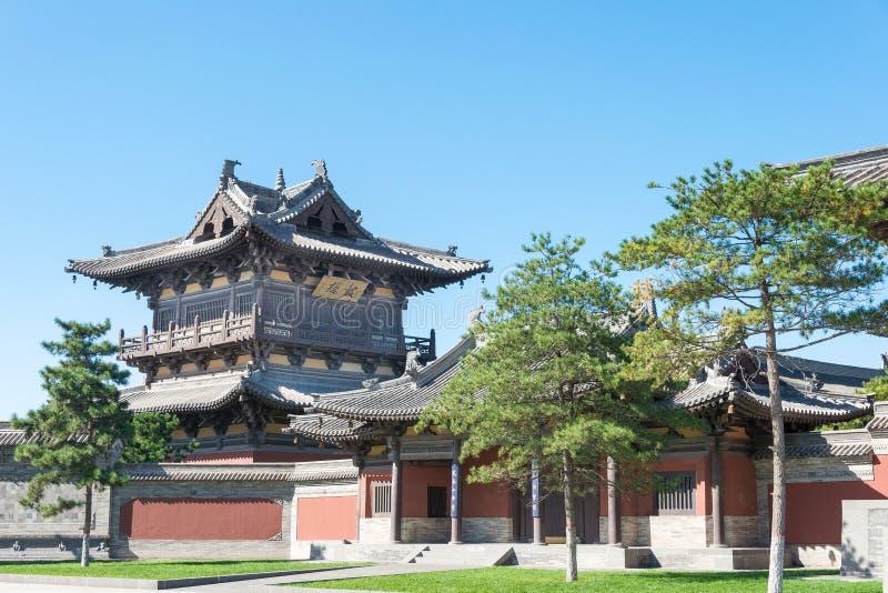 SHANXI, CHINY - Sept 25 2015: Huayan świątynia sławny Historyczny obraz royalty free