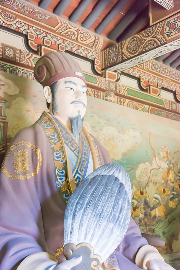 SHANXI, CHINY - Sept 17 2015: Zhuge Liang statua przy Guandi zastępcami obraz royalty free