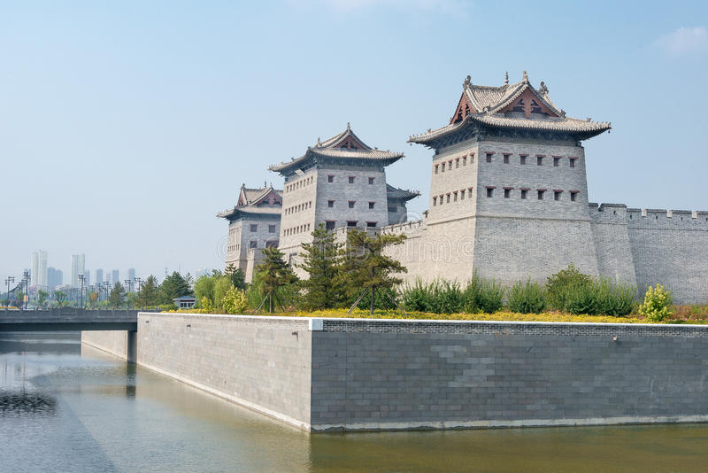 SHANXI, CINA - il 21 settembre 2015: Muro di cinta di Datong un Histor famoso fotografie stock libere da diritti