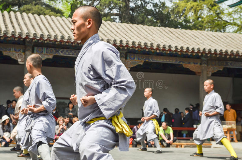 Shaolin Monks Demonstration. Shaolin Monks Kung Fu Demonstration in Luo Yang, China stock photos