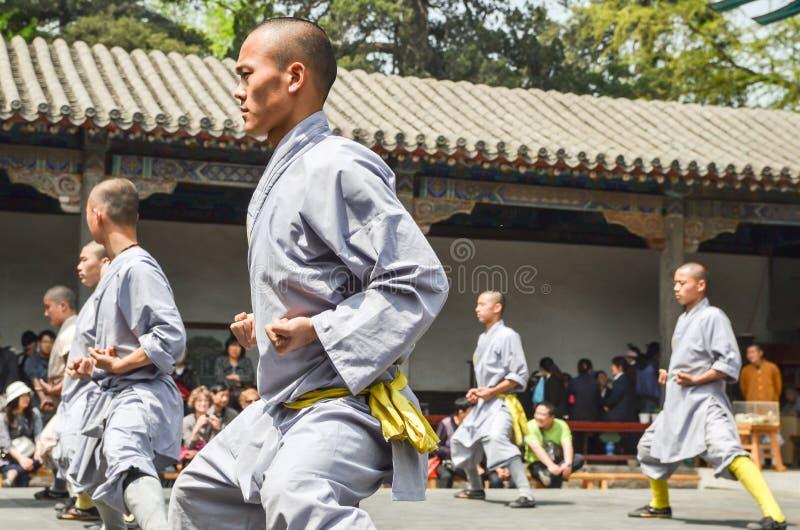 Shaolin munkdemonstration arkivfoton