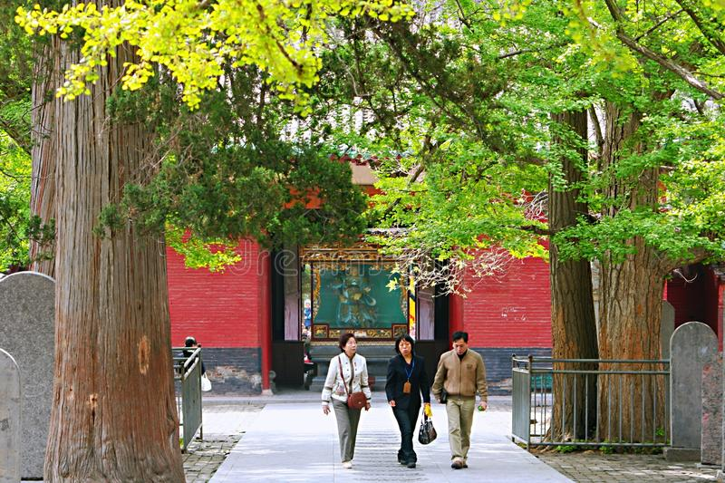 Shaolin Temple in Songshan. Shaolin Temple is located in Songshan, five, Dengfeng, Zhengzhou, Henan. It is called & x22;Shaolin Temple& x22; because it is stock photo