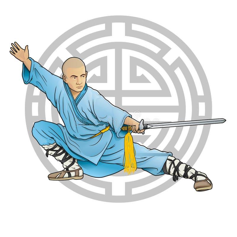 Shaolinmonnik met zwaard en levensduursymbool royalty-vrije stock foto's