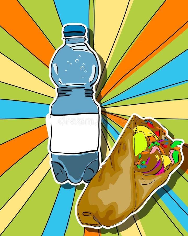 Shaorma och vatten för Popkonst stock illustrationer