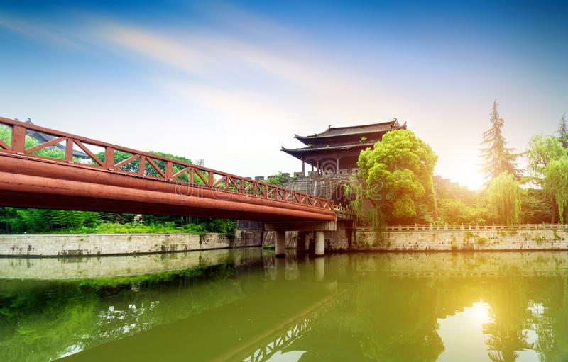 Ancient City Wall. Shaoxing ancient city wall and moat, China Zhejiang stock image