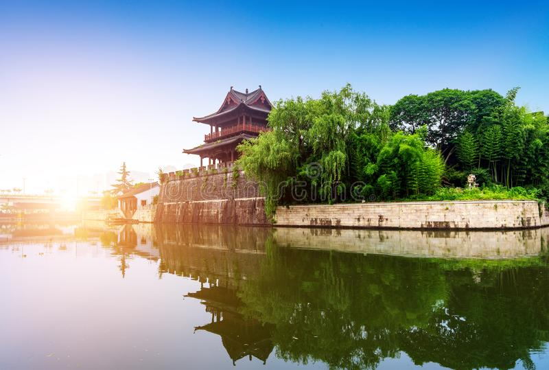 Ancient City Wall. Shaoxing ancient city wall and moat, China Zhejiang.Translation:`Concentric, accumulate strength royalty free stock image