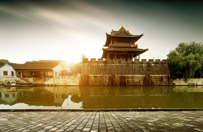 Ancient City Wall. Shaoxing ancient city wall and moat, China Zhejiang.Translation:`Concentric, accumulate strength stock images