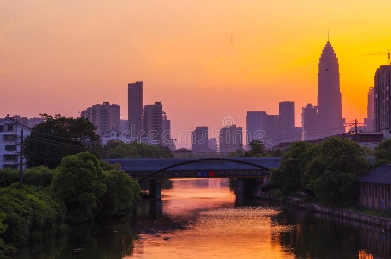 Shaoxing, China, in the sunset. Beautiful moments of urban architecture in the evening. Photo Taken On: April 30th, 2017 stock images