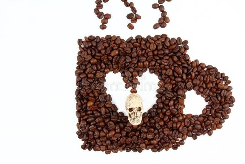 Shape av den kaffekoppen och skallen på vit bakgrund arkivbild