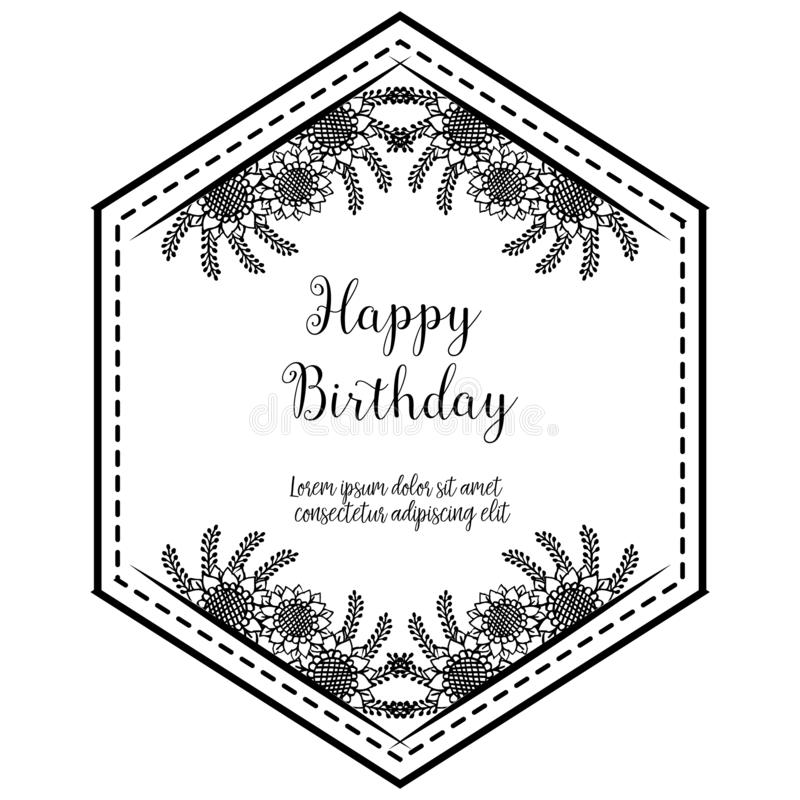 Shape of card happy birthday, beautiful wreath frame, texture elegant. Vector. Illustration royalty free illustration
