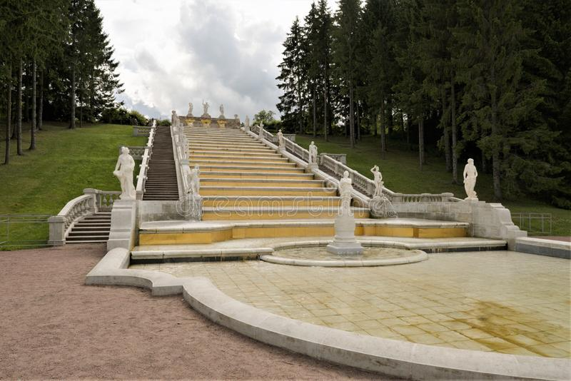 Petergof, Russia, July 2019. View of the cascade of fountains `Golden Mountain`. The shape of the cascade was formed by 1732, further changes concerned only the stock image