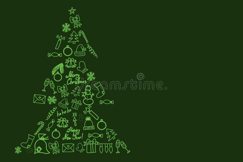 Shape of christmas tree consists of festive symbols on green background 3D illustration. Shape of christmas tree consists of festive symbols such as balls vector illustration