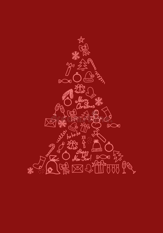 Shape of christmas tree consists of festive symbols on red background 3D illustration. Shape of christmas tree consists of festive symbols such as balls, snowman stock illustration