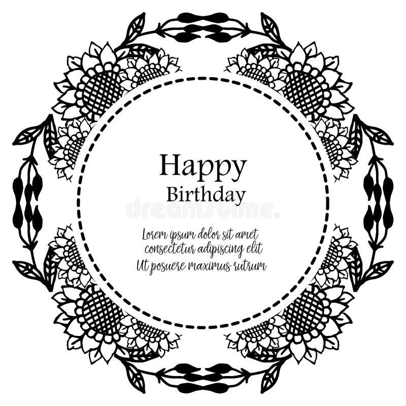 Shape circle cute flower frame, ornament concept happy birthday. Vector. Illustration royalty free illustration