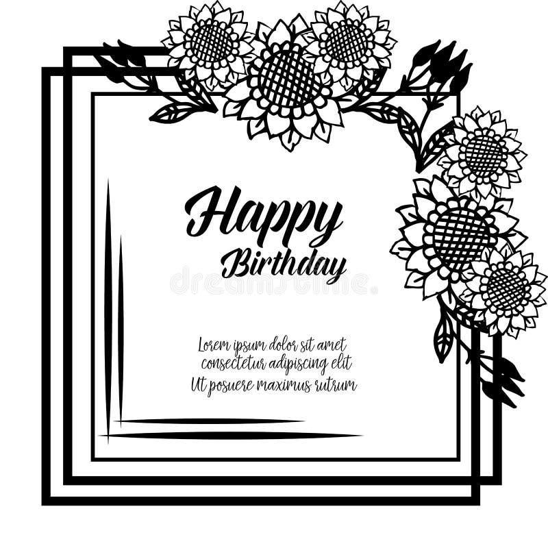 Shape circle cute flower frame, ornament concept happy birthday. Vector. Illustration vector illustration