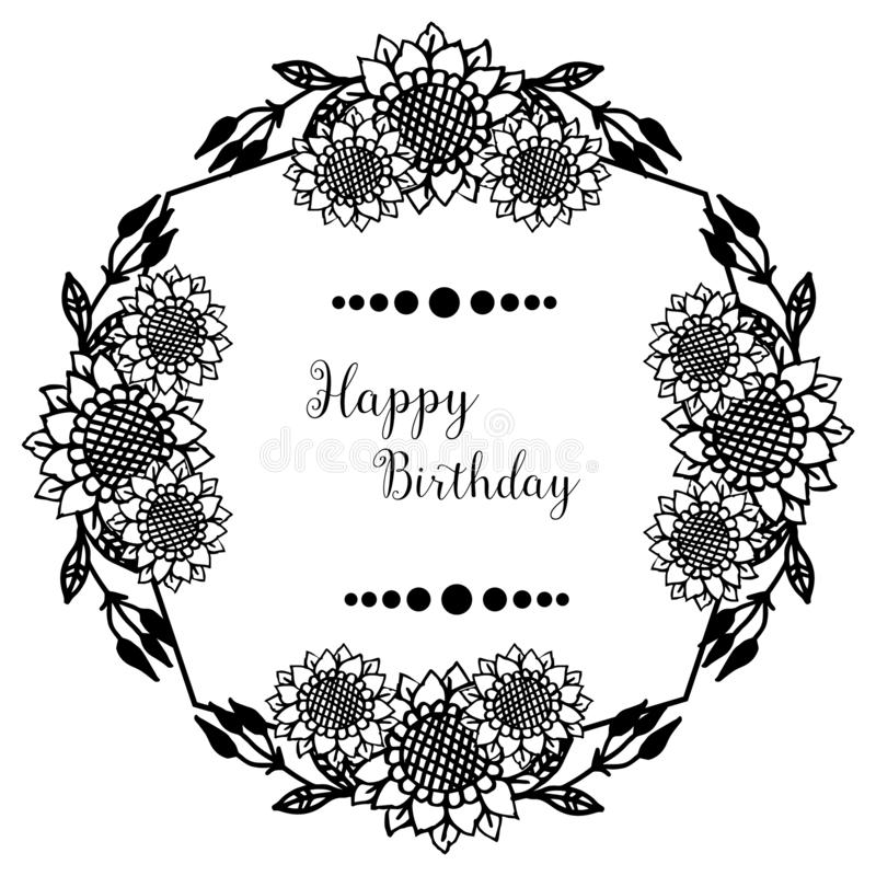 Shape circle cute flower frame, ornament concept happy birthday. Vector. Illustration stock illustration