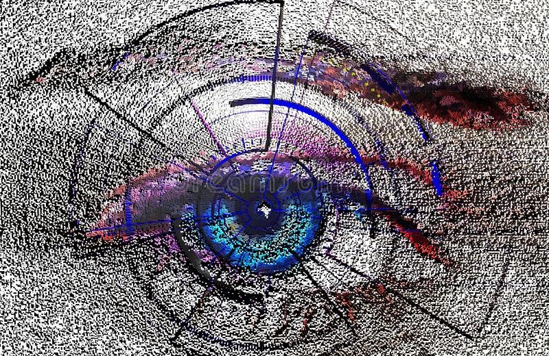 Shape composition, block, geometric structure. biometric scan of the human eye , software interface , illustration of pixel 3D. Scan of the human eye , software royalty free illustration