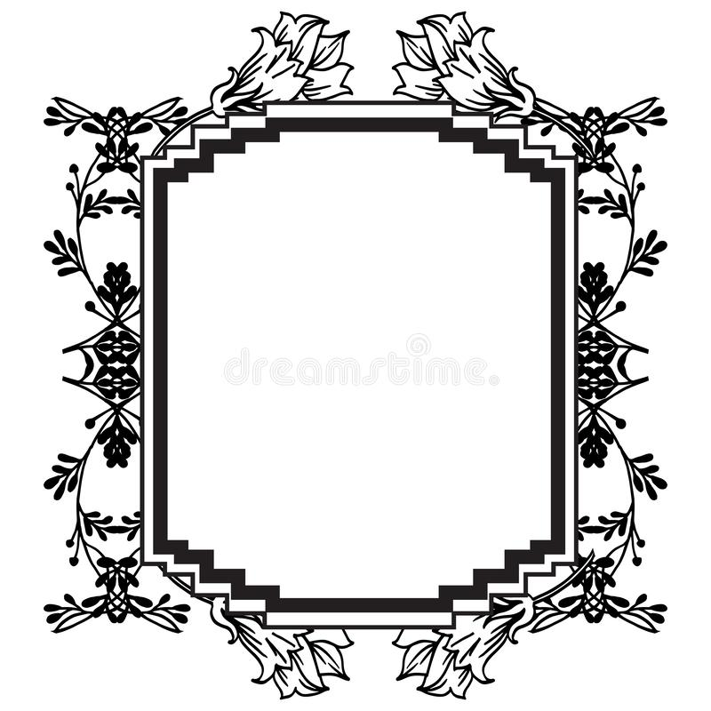 Shape of design for various cards, feature cute flowers. Vector. Illustration stock illustration