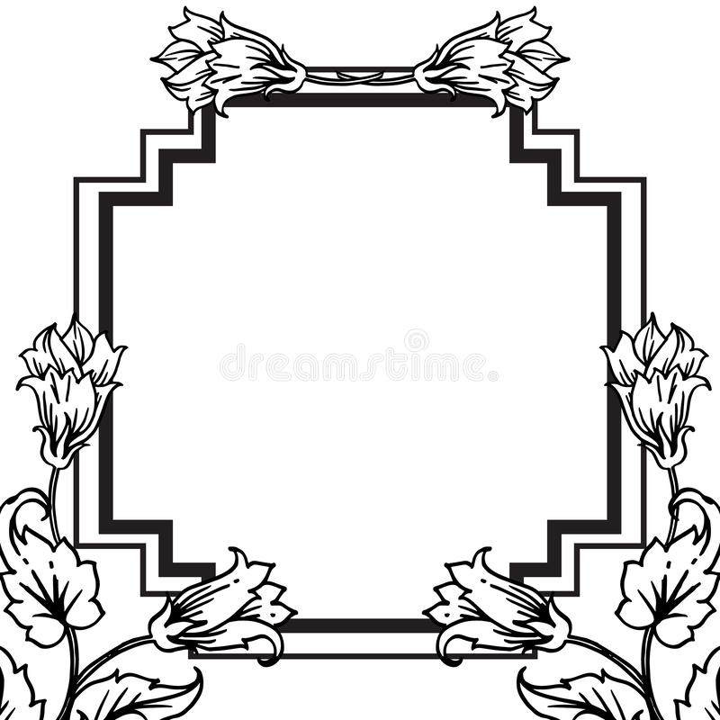 Shape of design for various cards, feature cute flowers. Vector. Illustration vector illustration