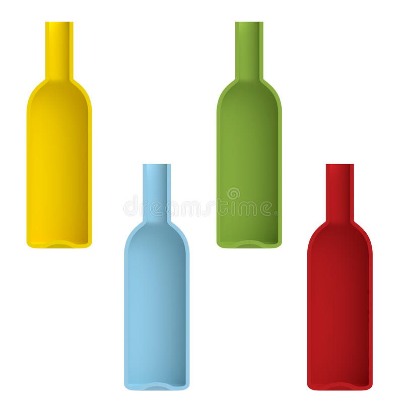 Shape empty cocktail bottle in cut on clean background. Half bottle of front side view. Template for display cocktails and drinks. 3d illustration stock illustration