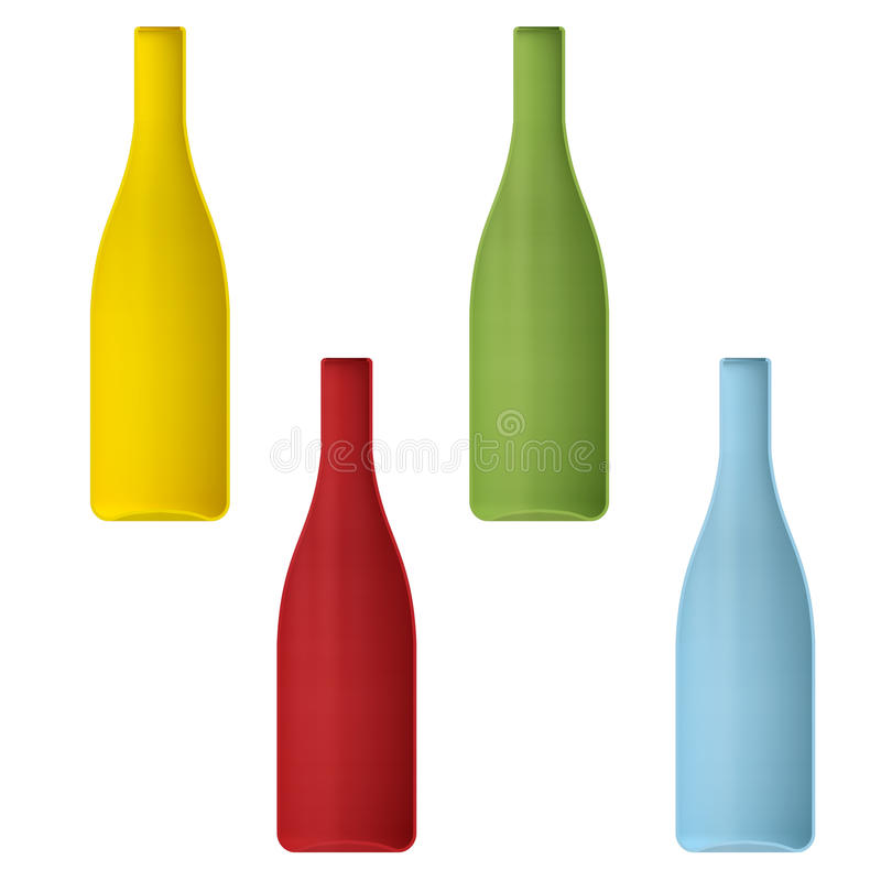 Shape empty cocktail bottle in cut on clean background. Half bottle of front side view. Template for display cocktails and drinks. 3d illustration royalty free illustration
