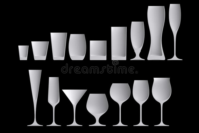 Shape empty cocktail glass in cut on clean background. Half cocktail glass of front side view. Blank to display cocktails and drinks. 3d illustration vector illustration
