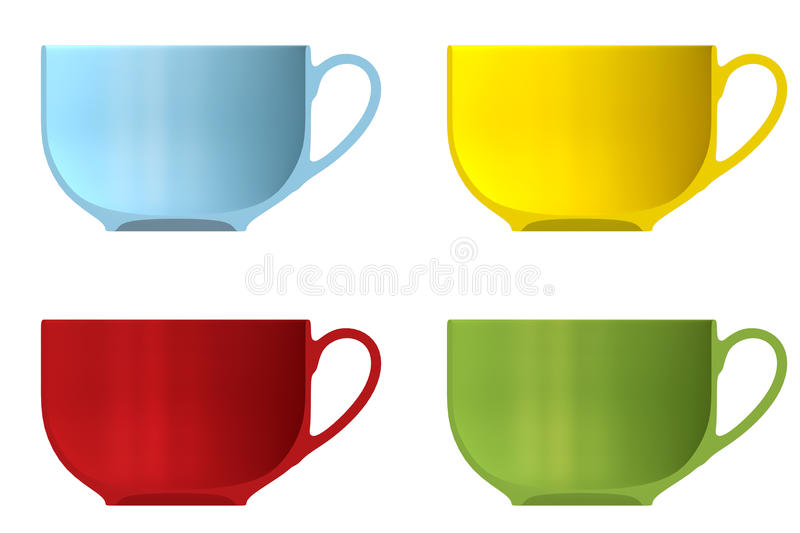 Shape empty cup in cut on clean background. Half cup of front side view. Blank to display recipes and food. 3d illustration royalty free illustration