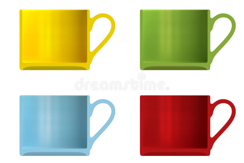 Shape empty cup in cut on clean background. Half cup of front side view. Blank to display recipes and food. 3d illustration vector illustration