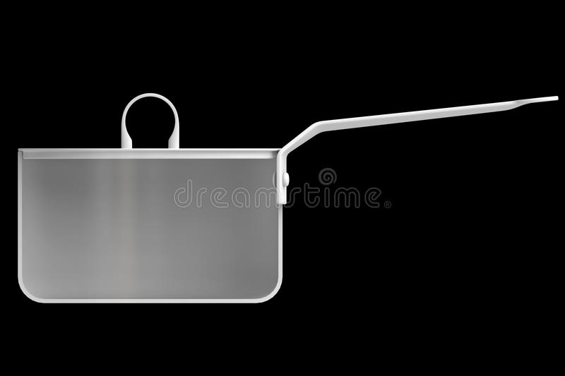 Shape empty pan in cut on clean background. Half pans of front side view. Blank to display recipes and food. 3d illustration stock illustration