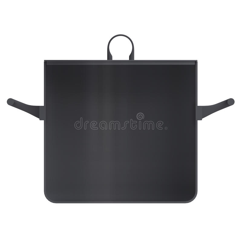 Shape empty pan in cut on clean background. Half pans of front side view. Blank to display recipes and food. 3d illustration royalty free illustration