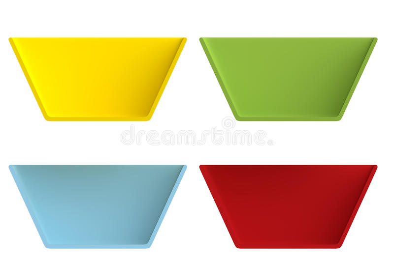 Shape empty plate in cut on clean background. Half plate of front side view. Blank to display recipes and food. 3d illustration vector illustration