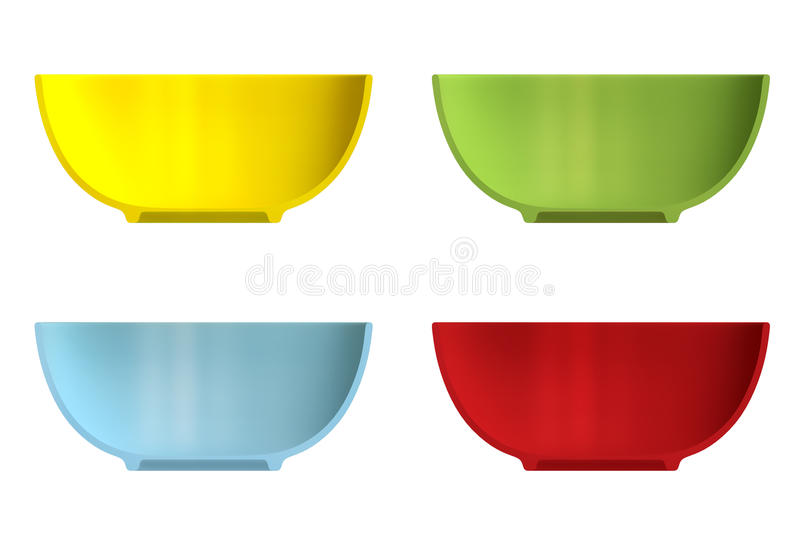 Shape empty plate in cut on clean background. Half plate of front side view. Blank to display recipes and food. 3d illustration stock illustration