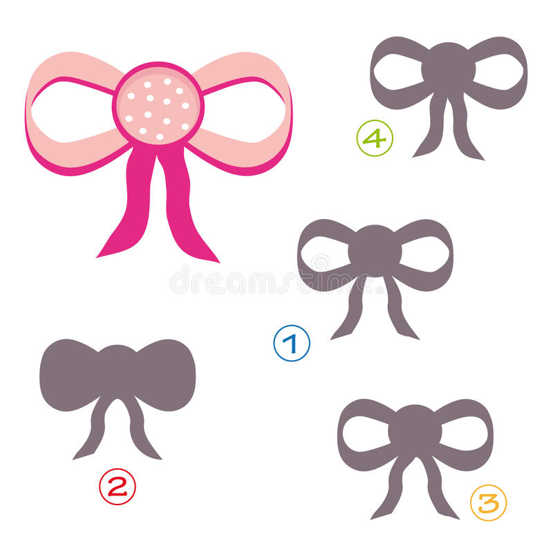 Shape game - the bow. A funny game for children: Find the exact shape of the bow! (The right solution is number four royalty free illustration