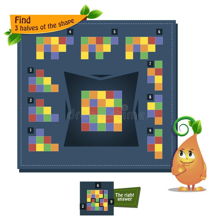Shape game 3 halves adults. Educational game iq for kids and adults development of logic, iq. Task find 3 halves of the shape royalty free illustration