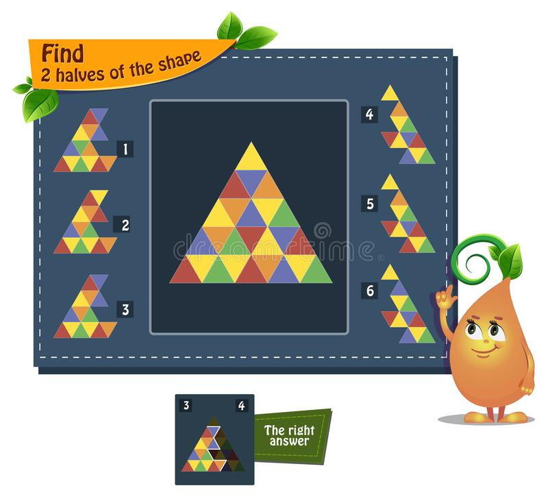 Shape game 2 halves adults. Educational game iq for kids and adults development of logic, iq. Task find 2 halves of the shape stock illustration