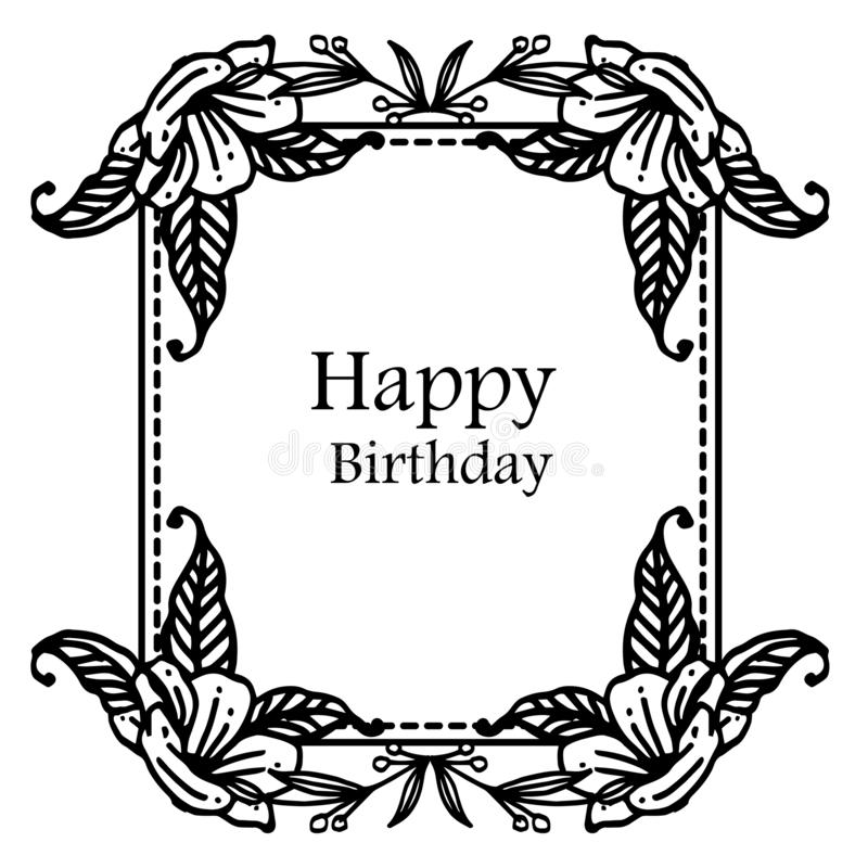 Shape of greeting card happy birthday, with decoration silhouette wreath frame. Vector stock illustration