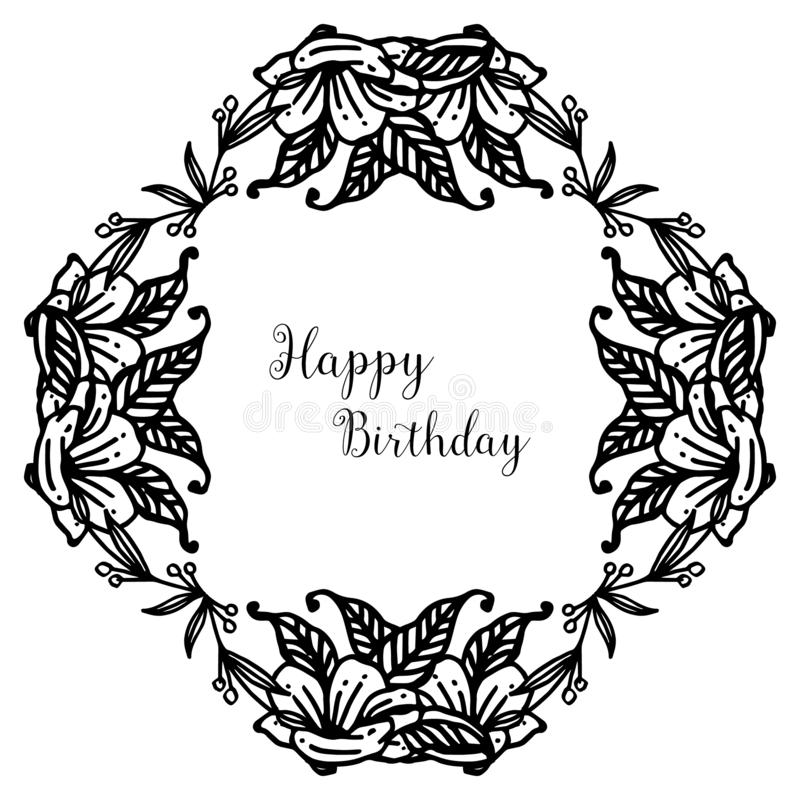 Shape of greeting card happy birthday, with decoration silhouette wreath frame. Vector vector illustration