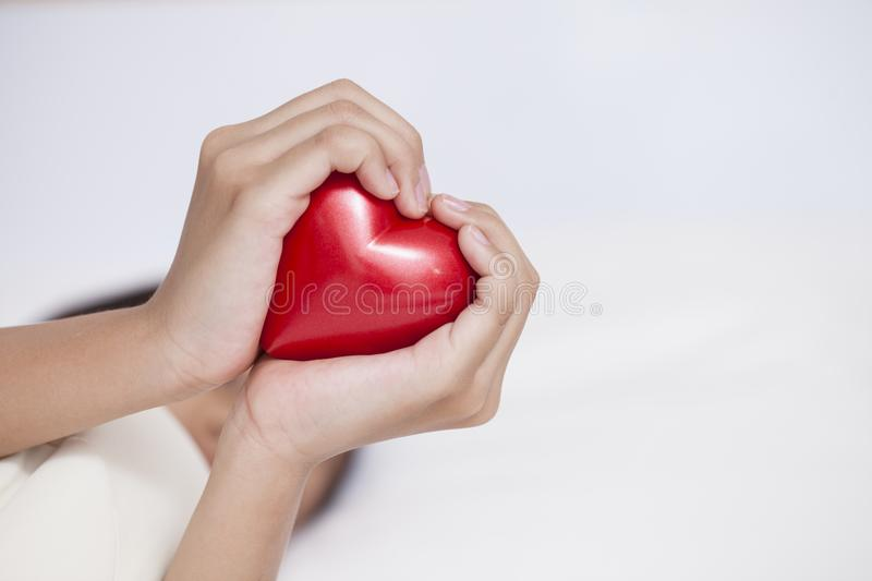 Shape of the heart made by girl hands on white background. royalty free stock image