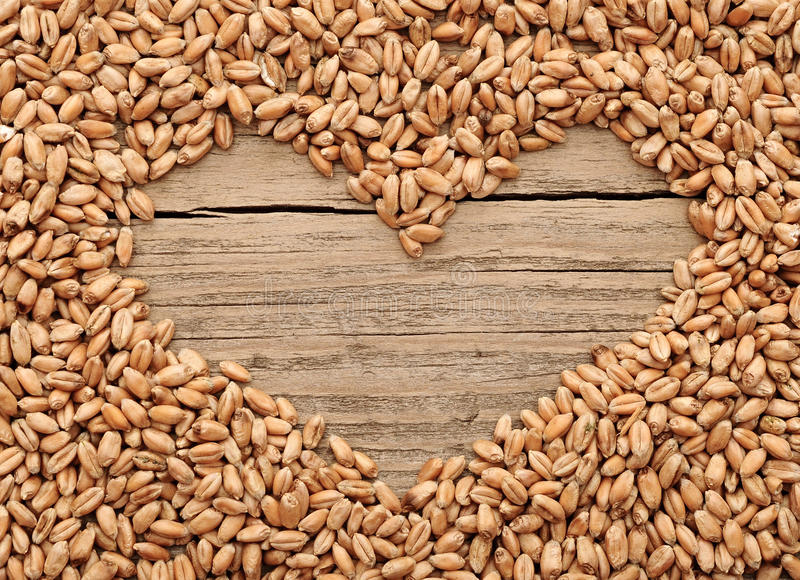 Shape of the heart is made of wheat royalty free stock image