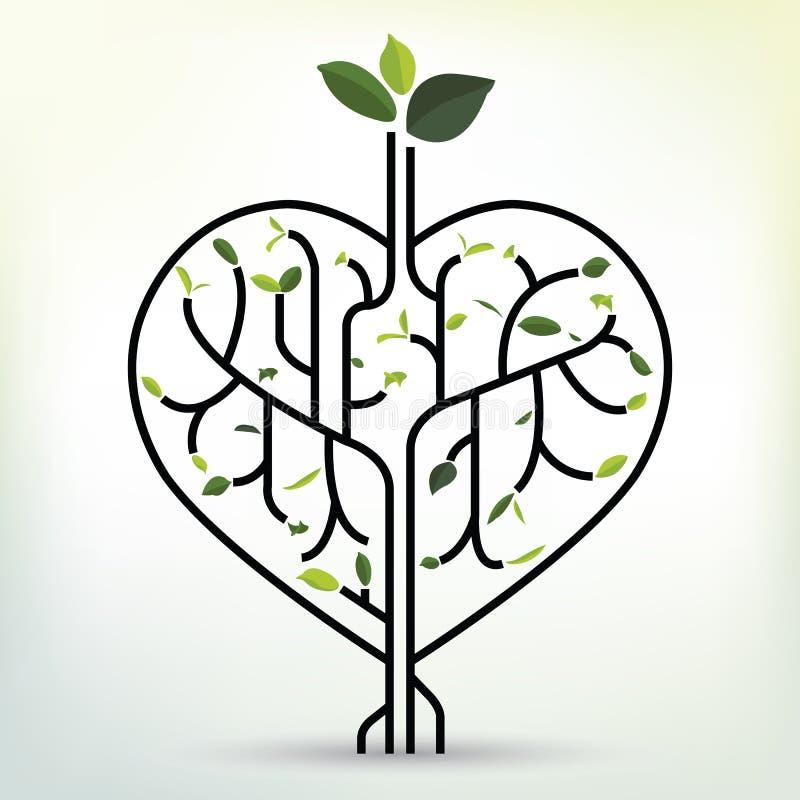 Shape hjärta med det gröna bladet Svart översiktsvektorillustration stock illustrationer